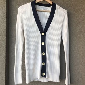 Old Navy Blue and Off White Cardigan Metal Buttons